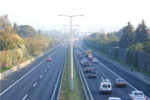 Köer på en Stadtautobahn