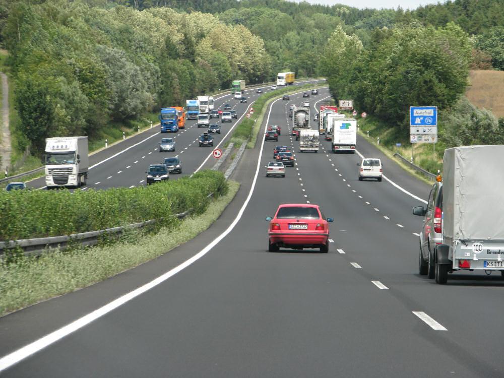 Trafik på Autobahn